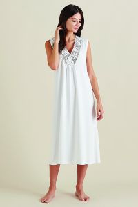 Eldora Pima Cotton Nightdress in White
