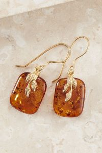 Gold Plated Amber Hook Earrings