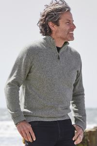 William 4 Ply Zip-Up Mens Cashmere Turtle Neck Sweater in Grey