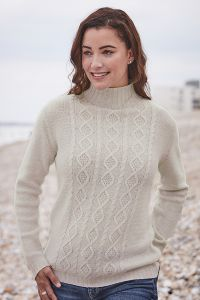 Julia 6 Ply High Neck Cable Cashmere Sweater