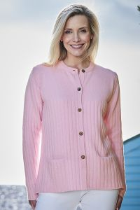 Women's 4ply Ribbed Cashmere Cardigan in Pink