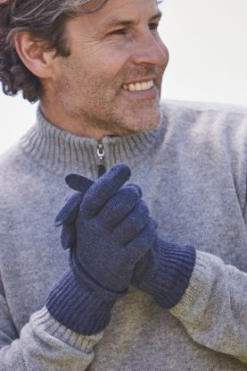 Mens 4 ply cashmere gloves in blue