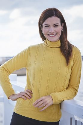 Antonia Cable Roll Collar sweater yellow