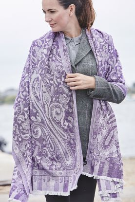 Cashmere and silk patterned shawl in Jaipur purple