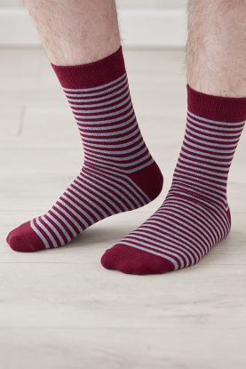 Mens Striped Cashmere Socks in red
