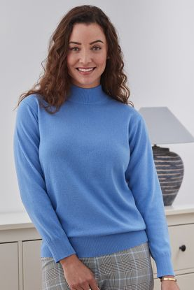 Women's Gina 2 ply cashmere turtle neck sweater in Blue