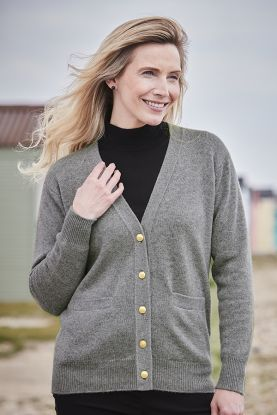 Women's Erica 4ply cashmere cardigan in grey