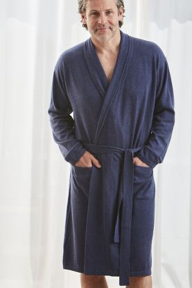Gents cashmere robe in blue