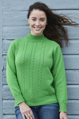 Women's Maxine 4 ply cashmere cable turtle neck sweater in green