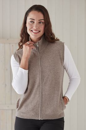 Christine Zip-Up Cashmere Gilet in Brown