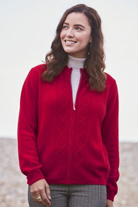 Virginia 4 Ply Zip-Up Cashmere Cardigan in Red