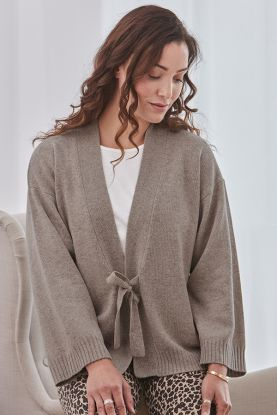 Peyton 4 Ply Tie Front Cashmere Cardigan in Brown