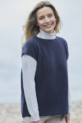 Adele 4 ply cashmere box ribbed tunic jumper in Blue