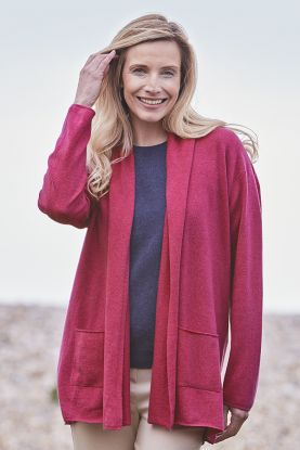 Women's 2ply drape cashmere cardigan in pink