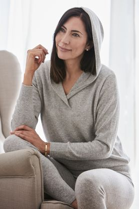 Cashmere 2ply Hoodie in grey