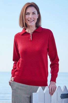 Cashmere button shirt collar sweater in red