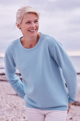 4 ply cashmere sweater in baby blue