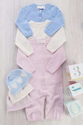 Cashmere Baby-gro and matching hat