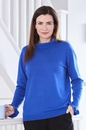 Jackie Frill Cuff Cashmere Cowl Neck Sweater