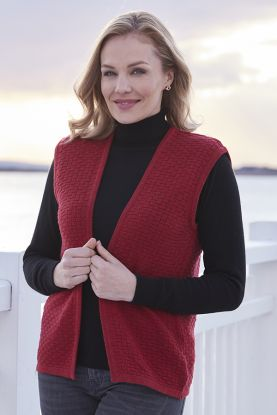 Clarice 4 ply Basketweave gilet in red