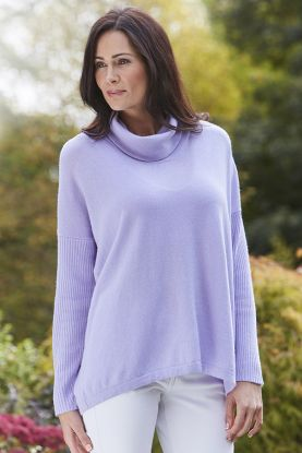Kendra cashmere relaxed cowl neck sweater in Bon-Bon
