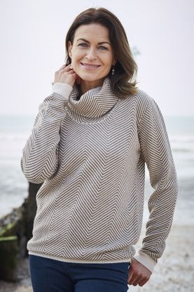 Women's patterned cashmere cowl neck in brown and cream.