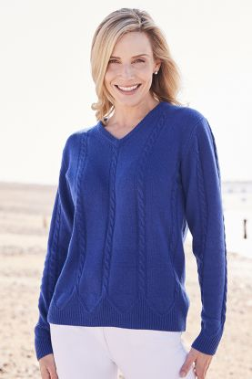 Gwyneth 4 Ply Cashmere Cable V-Neck Sweater