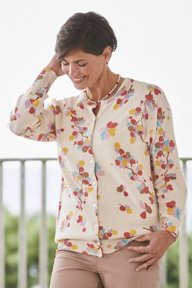 Printed cashmere long sleeve cardigan with buttons