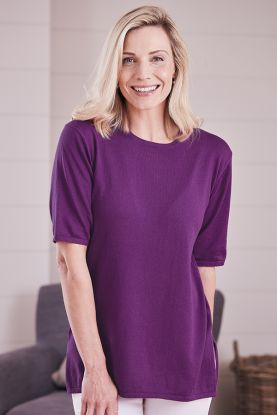 Maura Cashmere Cotton High Vent Tunic