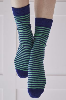 Ladies Striped Cashmere Socks in green and blue