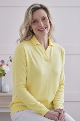 Women's Heather 2ply cashmere sweater in Yellow