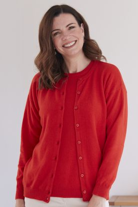 Women's Annette 2ply cashmere crew neck cardigan in Red