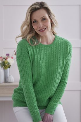 Aileen cable knit crew neck in green