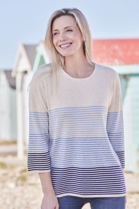Women's cashmere striped crew neck sweater in blue and cream