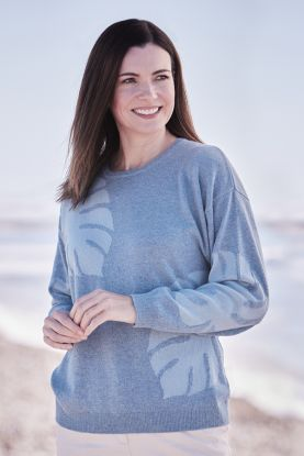 Women's Cashmere Crew Neck Sweater in Blue
