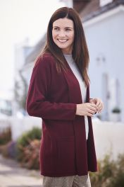 Women's Milly 2 ply cashmere cardigan in burgundy