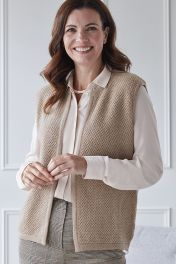 Women's Lillie 4 ply pure cashmere gilet in beige