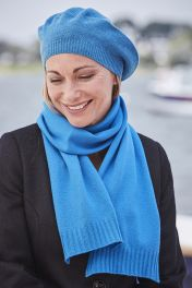 4 Ply cashmere ribbed edge scarf in blue