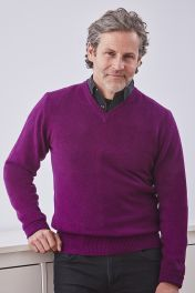 Men's Campbell 4ply v-neck cashmere sweater in dragonfly purple
