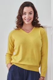 Women's Melissa 2ply cashmere v-neck sweater in yellow