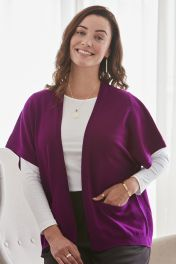 Women's 2 ply cashmere cocoon cardigan in purple