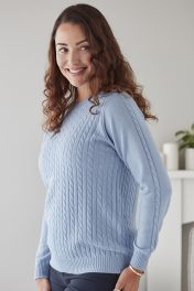 Angelina Cable Crew Neck Sweater in Baby Blue