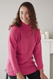 Penelope 4 Ply Pocket Cashmere Turtle Neck in Pink