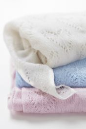 Cashmere Baby Blankets in White, Blue and Pink