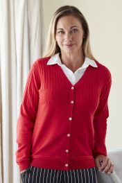 Women's Serafina half cable cashmere cardigan in red