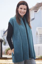 4 Ply rib collar cashmere gilet in teal