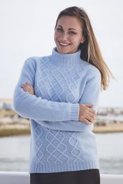 Caralynn 6 Ply cashmere cable high neck sweater in baby blue