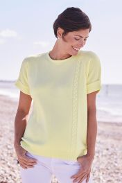 Margot 4 Ply Cable Short Sleeve Cashmere Sweater