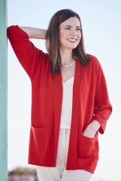 Women's 2 ply cashmere cardigan in red
