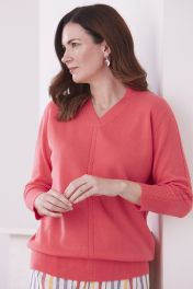 Women's Cashmere Cable V-Neck Sweater in coral